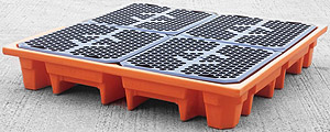 drum spill pallet, drum bund, spill containment, drum sump, 4 drums