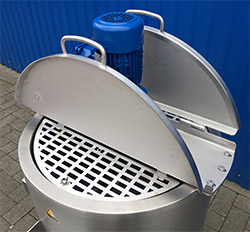RVS tank met elektrische verwarming, verwarmbare RVS tank, mengtank, opslagtank met verwarming, thermostaat, roerwerk, INOX tank, smelttank