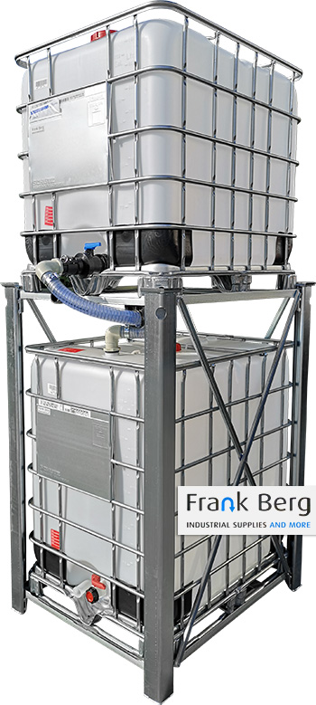 ibc, productie tank, toevoer, schütz ibc feeder system, mx feeder, 1250 liter ibc container, buffer ibc