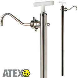 Stainless steel hand pump, pumping food, flammable liquids and solvents such as acetone