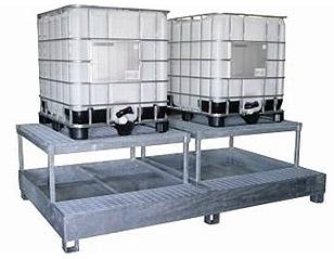 steel IBC bund, sump pallet, steel ibc spill containment, spill tray, galvanized steel, grid, platform