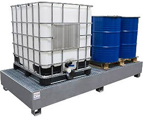 steel IBC bund, sump pallet, steel ibc spill containment, spill tray, galvanized steel, grid