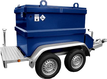 Dieseltank aanhanger combinatie tandemas, geremd, KIWA tank, mobiele diesel IBC