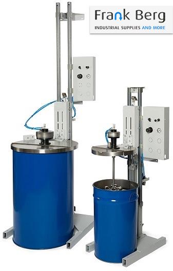 tripod agitator for drums, pneumatic winch, agitator lift, barrels, drums, 200L drum agitator, ATEX, zone 1, EX proof, stand agitator