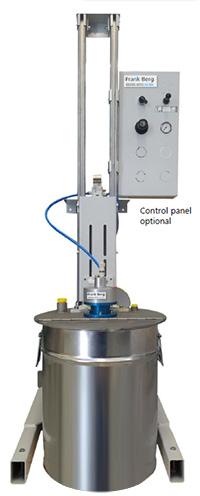 ATEX statiefroerwerk voor vaten, 200L vaten, EX, explosieveilige menger, pneumatisch roerwerk, pneumatische menger, persluchtaangedreven menger,