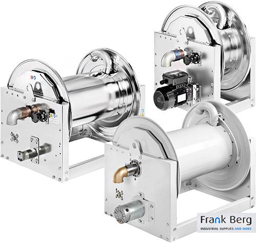 rvs haspels, Haspels met Elektrische aandrijving in 230V, 24V of pneumatisch, pneumatische haspel, gemotoriseerde slanghaspel
