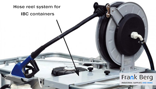 Hose reel system for IBC containers / tote tanks