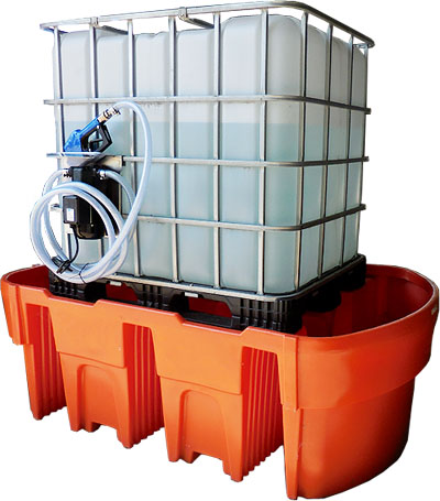AdBlue spill containment pallet for 1000 liter AdBlue tanks