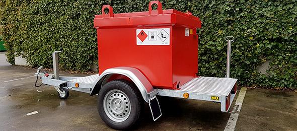 mobiele KIWA Dieseltanks op aanhanger, enkelassig of tandemas aanhangwagen met diesel brandstoftank IBC