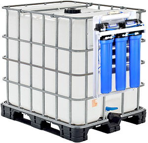 Reverse osmose water filter system for IBC totes