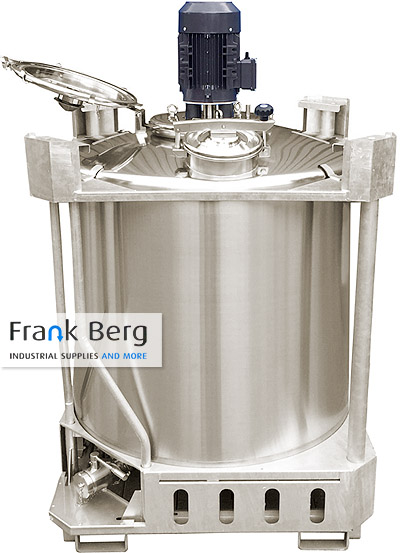 stainless steel mixing tank with agitator, stainless steel tote, stainless steel transport tank, forkliftable tank