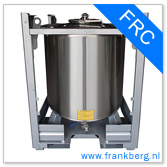 Stainless steel offshore tank in robust frame, stackable