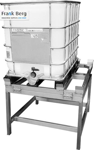 basculante para contenedores ibc, volteador, inclinador para contenedores ibc, GRG, volquete ibc, basculante, mecanismo para vaciar ibc, vaciar totalmente su contenedor ibc, tanque, 1000L, ángulo, 5%, 10%, inclinación